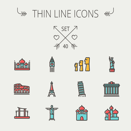 Travel thin line icon set for web and mobile. Set include- mosque, statue, tower, clock, office building icons. Modern minimalistic flat design. Vector icon with dark grey outline and offset colour on light grey background. Ilustração