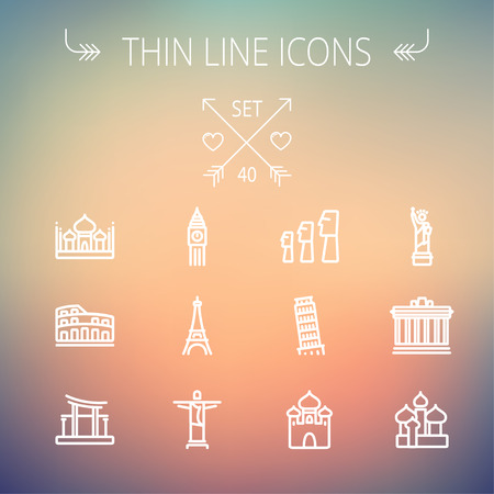 Travel thin line icon set for web and mobile. Set includes- mosque, statue, tower, clock, office building icons. Modern minimalistic flat design. Vector white icon on gradient mesh background. Ilustração