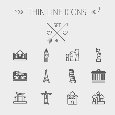 Travel thin line icon set for web and mobile. Set includes- mosque, statue, tower, clock, office buildingicons. Modern minimalistic flat design. Vector dark grey icon on light grey background.