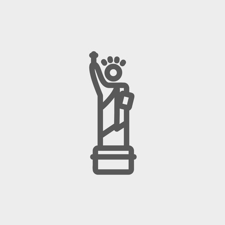 Statue of Liberty icon thin line for web and mobile, modern minimalistic flat design. Vector dark grey icon on light grey background.