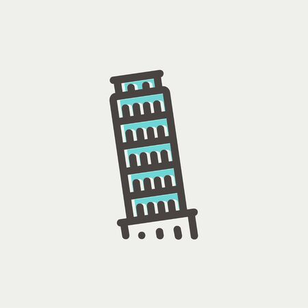 siena italy: The leaning tower of pisa icon thin line for web and mobile, modern minimalistic flat design. Vector icon with dark grey outline and offset colour on light grey background. Illustration