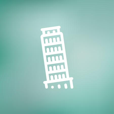 siena italy: The leaning tower of pisa icon thin line for web and mobile, modern minimalistic flat design. Vector white icon on gradient mesh background.