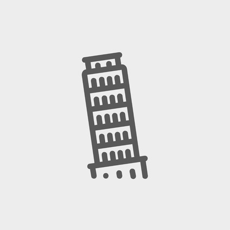 siena italy: The leaning tower of pisa icon thin line for web and mobile, modern minimalistic flat design. Vector dark grey icon on light grey background.