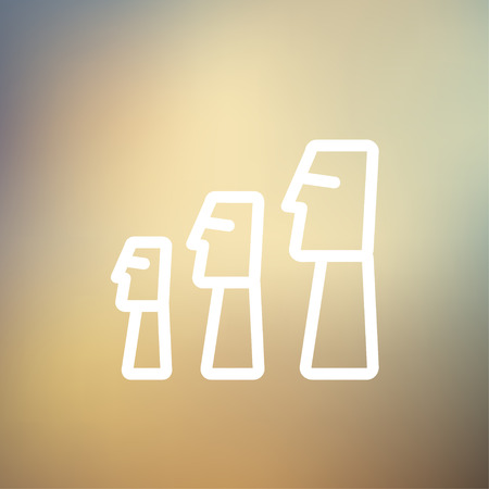 easter island: Easter Island Statues icon thin line for web and mobile, modern minimalistic flat design. Vector white icon on gradient mesh background.