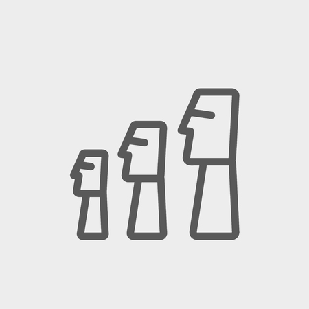 pictorial art: Easter Island Statues icon thin line for web and mobile, modern minimalistic flat design. Vector dark grey icon on light grey background.