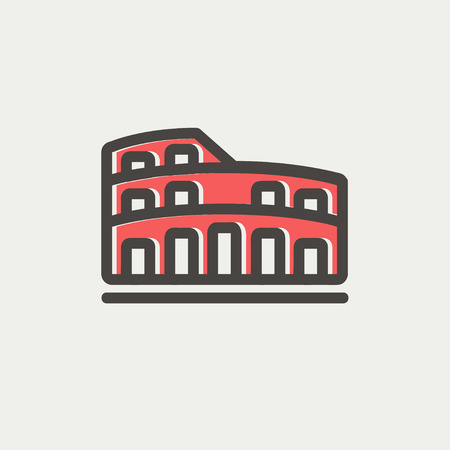 Coliseum icon thin line for web and mobile, modern minimalistic flat design. Vector icon with dark grey outline and offset colour on light grey background.