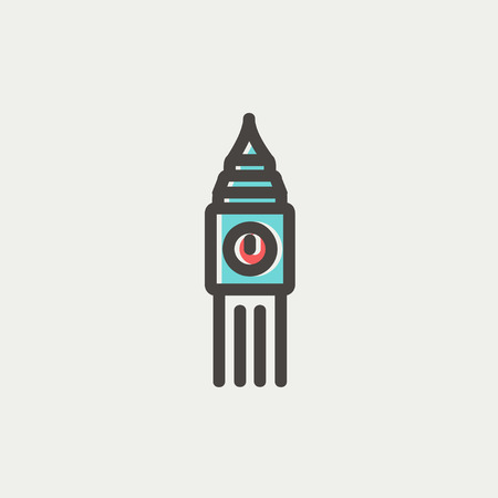 Big ben clock icon thin line for web and mobile, modern minimalistic flat design. Vector icon with dark grey outline and offset colour on light grey background.