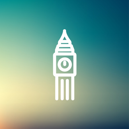 Big ben clock icon thin line for web and mobile, modern minimalistic flat design. Vector white icon on gradient mesh background. Illustration