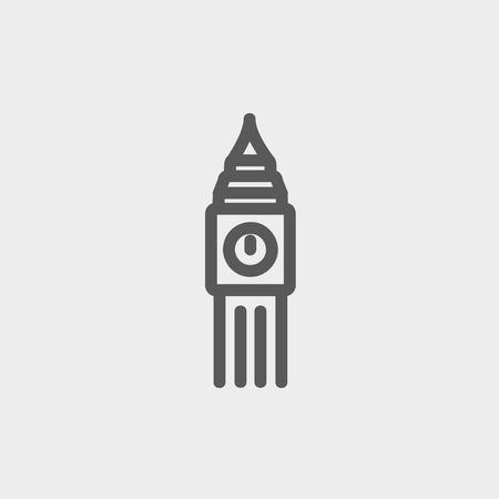 ビッグ ・ ベンの時計のアイコン web とモバイルでモダンなミニマルなフラットなデザインのための細い線。ベクトルにライトグレーの背景の暗い灰