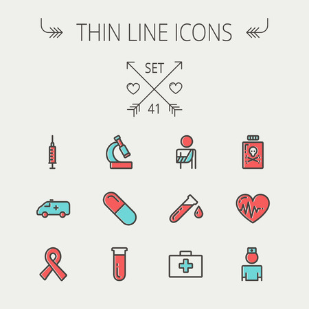Medicine thin line icon set for web and mobile. Set include- heart with cardiogram, lady nurse, first aid kit, capsule, syringe, test tube, unity ribbon, ambulance  icons. Modern minimalistic flat design. Vector icon with dark grey outline and offset colo Ilustracja