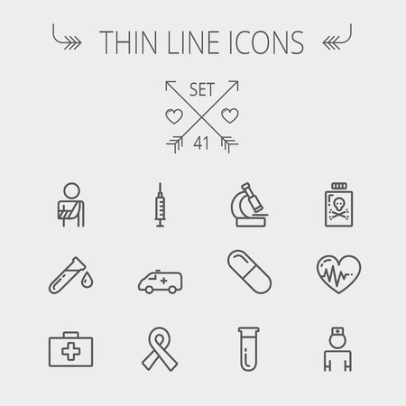 neutrons: Medicine thin line icon set for web and mobile. Set includes- heart with cardiogram, lady nurse, first aid kit, capsule, syringe, test tube, unity ribbon, ambulance icons. Modern minimalistic flat design. Vector dark grey icon on light grey background.