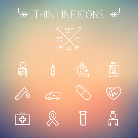 neutrons: Medicine thin line icon set for web and mobile. Set includes- heart with cardiogram, lady nurse, first aid kit, capsule, syringe, test tube, unity ribbon, ambulance  icons. Modern minimalistic flat design. Vector white icon on gradient mesh background.