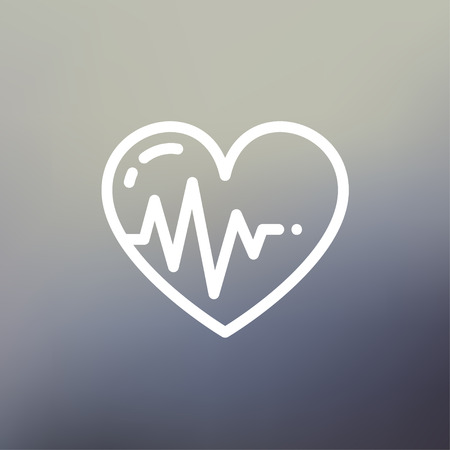 vital: Heart with cardiogram icon thin line for web and mobile, modern minimalistic flat design. Vector white icon on gradient mesh background. Illustration