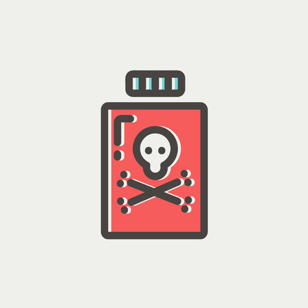 poison bottle: Bottle of poison icon thin line for web and mobile, modern minimalistic flat design. Vector icon with dark grey outline and offset colour on light grey background.