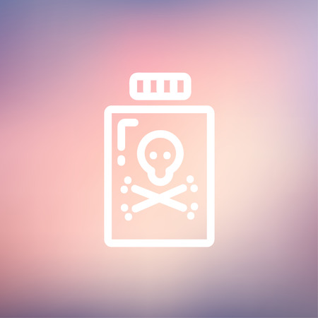 bane: Bottle of poison icon thin line for web and mobile, modern minimalistic flat design. Vector white icon on gradient mesh background.