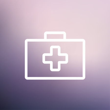 First aid kit icon thin line for web and mobile, modern minimalistic flat design. Vector white icon on gradient mesh background.