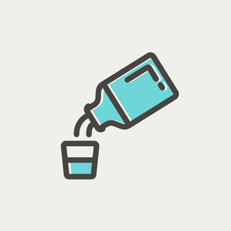cough syrup: Medicine and measuring cup icon thin line for web and mobile, modern minimalistic flat design. Vector icon with dark grey outline and offset colour on light grey background.