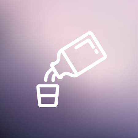 cough syrup: Medicine and measuring cup icon thin line for web and mobile, modern minimalistic flat design. Vector white icon on gradient mesh background.