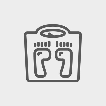 weighing scale: Weighing scale icon thin line for web and mobile, modern minimalistic flat design. Vector dark grey icon on light grey background.