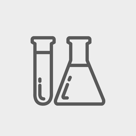 Test tube and beaker icon thin line for web and mobile, modern minimalistic flat design. Vector dark grey icon on light grey background. Illusztráció