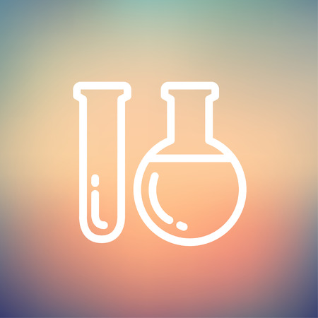 Test tube icon thin line for web and mobile, modern minimalistic flat design. Vector white icon on gradient mesh background. Ilustração