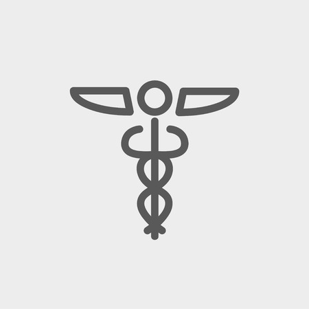 esculapio: S�mbolo icono de l�nea delgada M�dico en web y m�vil, dise�o plano minimalista moderno. Vector icono de color gris oscuro sobre fondo gris claro.