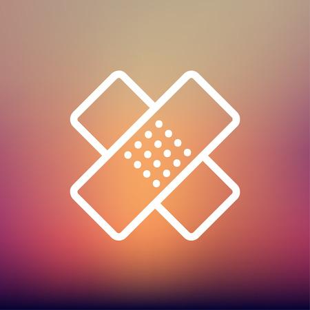 adhesive bandage: Adhesive bandage icon thin line for web and mobile, modern minimalistic flat design. Vector white icon on gradient mesh background. Illustration