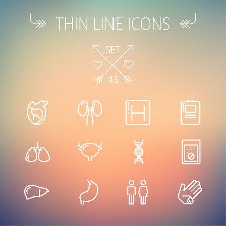 autopsy: Medicine thin line icon set for web and mobile. Set includes-human internal organs, hospital, DNA icons. Modern minimalistic flat design. Vector white icon on gradient mesh background.