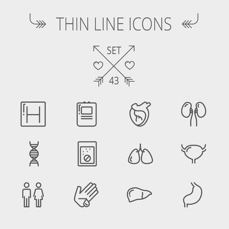 pores: Medicine thin line icon set for web and mobile. Set includes- human internal organs, hospital, DNA icons. Modern minimalistic flat design. Vector dark grey icon on light grey background.