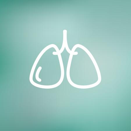 klatki piersiowej: Płuca cienka linia ikon dla sieci web i mobile, nowoczesne minimalistyczne płaska. Wektor ikonę na tle gradientu oczek.