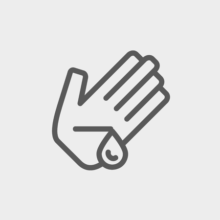 forearm: Wash wounded palm with water icon thin line for web and mobile, modern minimalistic flat design. Vector dark grey icon on light grey background.