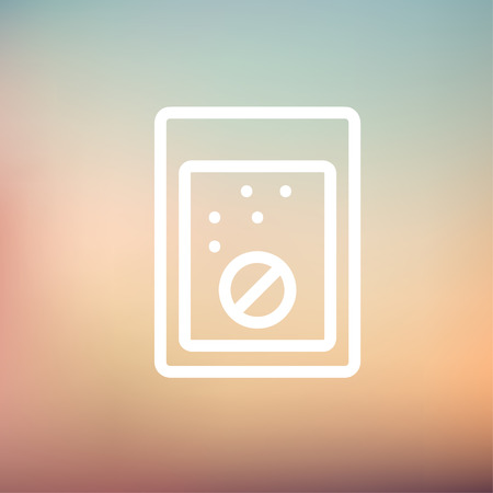 glass half full: Tablet into a glass of water icon thin line for web and mobile, modern minimalistic flat design. Vector white icon on gradient mesh background.