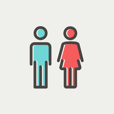 Male and female icon thin line for web and mobile, modern minimalistic flat design. Vector icon with dark grey outline and offset colour on light grey background.