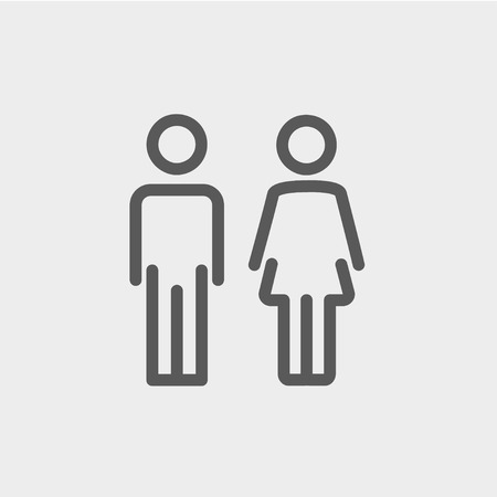 Male and female icon thin line for web and mobile, modern minimalistic flat design. Vector dark grey icon on light grey background. Vettoriali