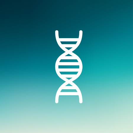 DNA icon thin line for web and mobile, modern minimalistic flat design. Vector white icon on gradient mesh background. Stock Illustratie