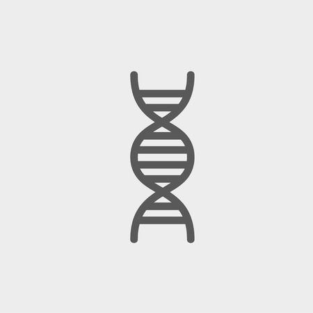 DNA icon thin line for web and mobile, modern minimalistic flat design. Vector dark grey icon on light grey background. Stock Illustratie