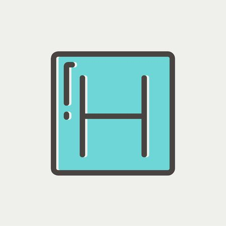sick malady: Hospital icon thin line for web and mobile, modern minimalistic flat design. Vector icon with dark grey outline and offset colour on light grey background. Illustration