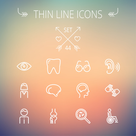 Medicine thin line icon set for web and mobile. Set includes- tooth, eye, ear, hands, bone, brain, human icons. Modern minimalistic flat design. Vector white icon on gradient mesh background. Ilustração