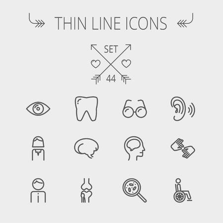 web icons: Medicine thin line icon set for web and mobile. Set includes- tooth, eye, ear, hands, bone, brain, human icons. Modern minimalistic flat design. Vector dark grey icon on light grey background.