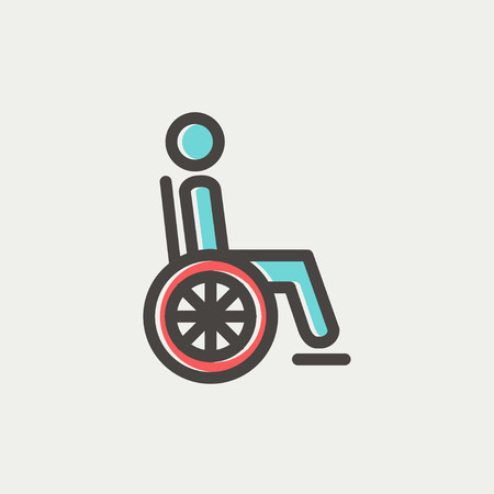 disability: Disabled person icon thin line for web and mobile, modern minimalistic flat design. Vector icon with dark grey outline and offset colour on light grey background. Illustration