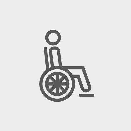 discapacitados: Desactivado persona icono de línea delgada para web y móvil, diseño plano minimalista moderno. Vector icono de color gris oscuro sobre fondo gris claro.