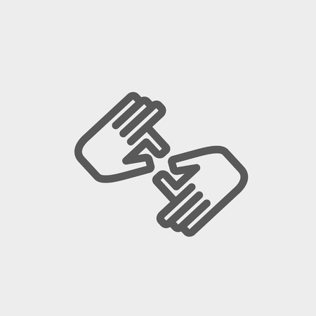 Two hands icon thin line for web and mobile, modern minimalistic flat design. Vector dark grey icon on light grey background.