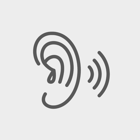 Ear icon thin line for web and mobile, modern minimalistic flat design. Vector dark grey icon on light grey background. Çizim