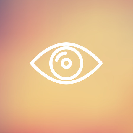 Eye icon thin line for web and mobile, modern minimalistic flat design. Vector white icon on gradient mesh background.