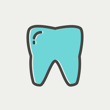 Tooth icon thin line for web and mobile, modern minimalistic flat design. Vector icon with dark grey outline and offset colour on light grey background. Çizim