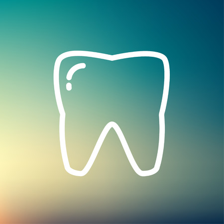 carious cavity: Tooth icon thin line for web and mobile, modern minimalistic flat design. Vector white icon on gradient mesh background.