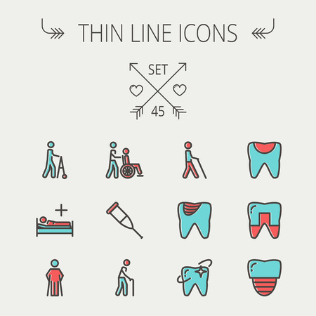Medicine thin line icon set for web and mobile. Set include- tooth, crutches, walker, injured person, sick person icons. Modern minimalistic flat design. Vector icon with dark grey outline and offset colour on light grey background.