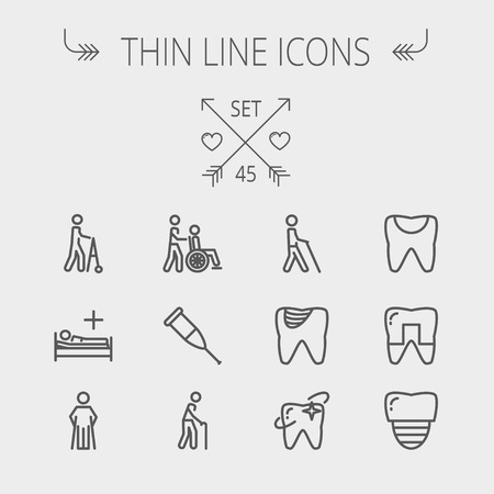 Medicine thin line icon set for web and mobile. Set includes- tooth, crutches, walker, injured person, sick person icons. Modern minimalistic flat design. Vector dark grey icon on light grey background.