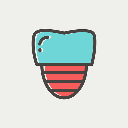 titanium: Tooth implant icon thin line for web and mobile, modern minimalistic flat design. Vector icon with dark grey outline and offset colour on light grey background. Illustration