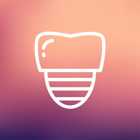 titanium: Tooth implant icon thin line for web and mobile, modern minimalistic flat design. Vector white icon on gradient mesh background.